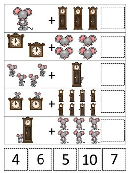 Hickory Dickory Dock themed Math Addition preschool learning game. Daycare.