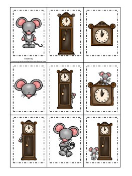 Hickory Dickory Dock themed Memory Matching preschool learning game. Daycare