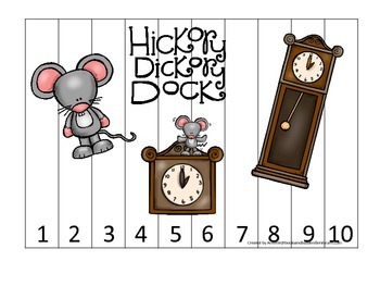 Hickory Dickory Dock themed Number Sequence Puzzle 1-10 preschool activity.