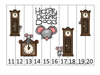 Hickory Dickory Dock themed Number Sequence Puzzle 11-20 preschool activity.