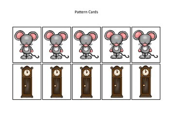 Hickory Dickory Dock themed Pattern Cards #1 preschool printable math activity.