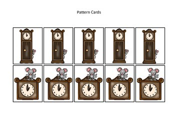 Hickory Dickory Dock themed Pattern Cards #2 preschool printable math activity.