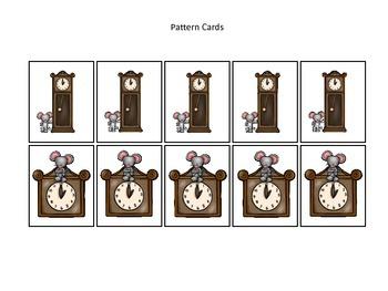 Hickory Dickory Dock themed Pattern Cards #4 preschool printable math activity.