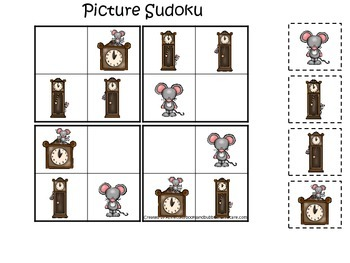 Hickory Dickory Dock themed Picture Sudoku preschool learning game.  Daycare gam