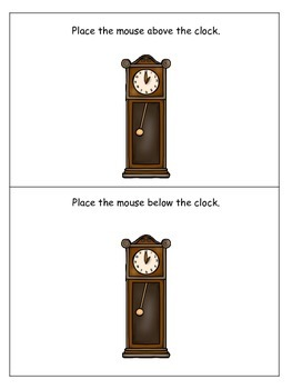 Hickory Dickory Dock themed Positional Cards preschool learning game.  Daycare g