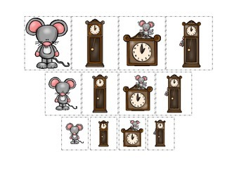 Hickory Dickory Dock themed Size Sorting preschool printable curriculum activity