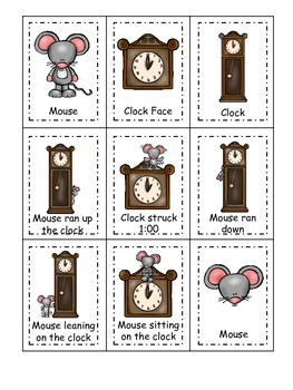 Hickory Dickory Dock themed Three Part Matching preschool educational game.