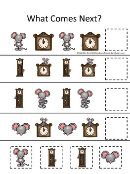 Hickory Dickory Dock themed What Comes Next preschool learning game. Daycare.