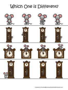 Hickory Dickory Dock themed Which One is Different preschool learning game. Dayc