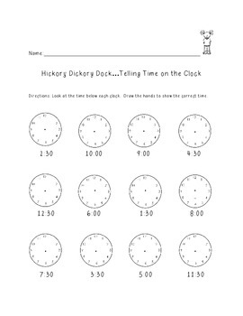 Hickory Dickory Dock...Telling Time on a ClockS