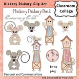 Hickory Dickory Mouse and clock Clip Art Color pers & commercial use T Clark