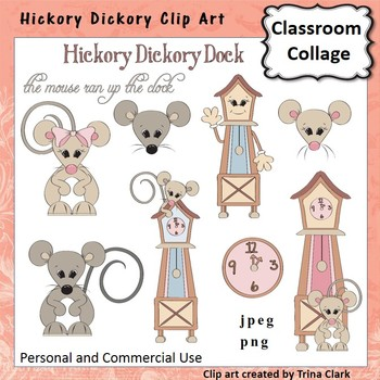 Hickory Dickory Mouse and clock Clip Art Color pers & comm