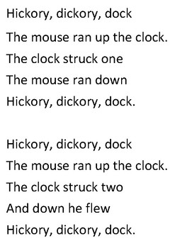 Hickory, dickory, dock Word Search