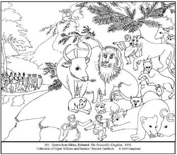 Hicks. The Peaceable Kingdom.  Coloring page and lesson plan ideas