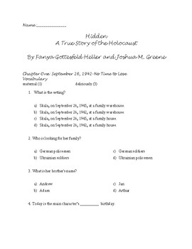 Hidden: A True Story of the Holocaust Guided Reading Packet/Book Study