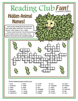 Hidden Animal Names Crossword Puzzle
