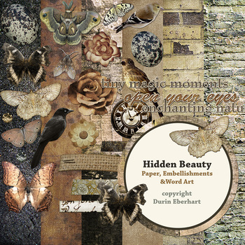 Hidden Beauty Printable Digital Paper, Embellishments and Alphas
