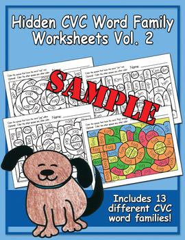 Hidden CVC Word Family Worksheets Free Sampler, Vol. 2
