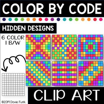 Hidden Designs Color by Code Clip Art