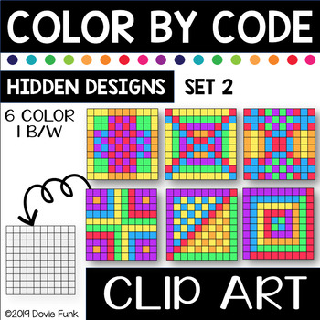 Hidden Designs Color by Code Clip Art Set 2