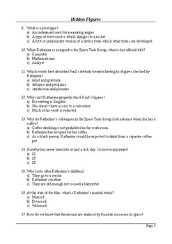 Hidden Figures - 50 Question Multiple Choice Quiz