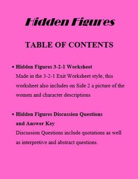 Hidden Figures Film Worksheet and Discussion Questions