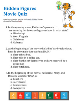 Hidden Figures Movie Guide Questions (Multiple Choice Worksheet)