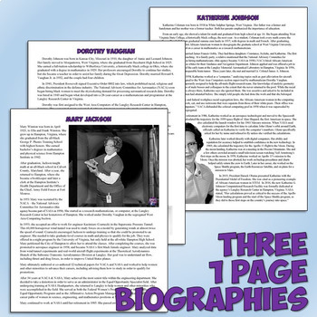 Hidden Figures Reading and Timeline Lesson Plan
