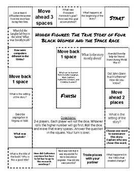 Hidden Figures: The True Story of Four Black Women... Comprehension Game Board