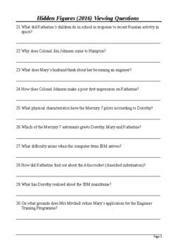 Hidden Figures Viewing Questions