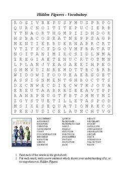 Hidden Figures - Vocabulary Word Search