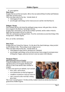 Hidden Figures - Writing and Research Extension Assignments