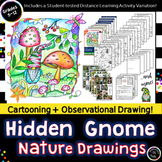 Distance Learning! Hidden Gnome Nature Drawings-Cartooning