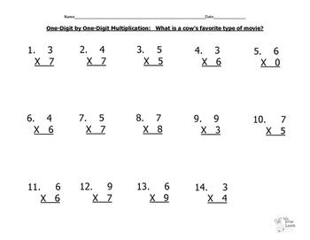 Hidden Joke (Cow's Favorite Movie)--One-Digit Multiplication Practice