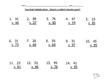 Hidden Joke (Rabbit's Favorite Sport)--Two-By-Two-Digit Multiplication Practice
