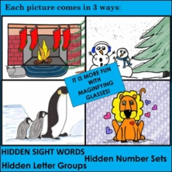 Hidden Letter Groups, Sight Words, Number Sets - Winter Themes