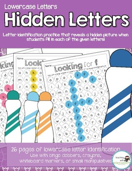 Hidden Letters - Lowercase - Letter Indetification