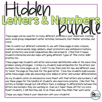 Hidden Letters and Numbers - GROWING BUNDLE