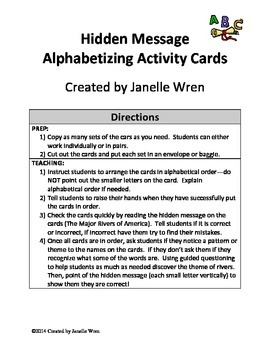 Hidden Message Alphabetizing Activity - FREE
