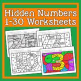 Hidden Numbers 1-30 Worksheets