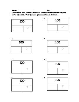 Hidden Part Game with Base Ten Blocks