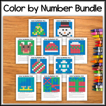 Hidden Picture Christmas/Winter Bundle - Color by Number