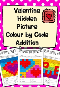 Hidden Picture Colour by Code Addition Valentine Theme