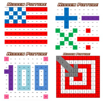 Hidden Picture Combo Pack - Fractions, Decimals, & Percents - 8 puzzles