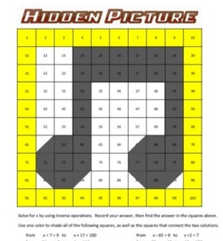Hidden Picture Math - Algebra - Solve for X - Whole Numbers