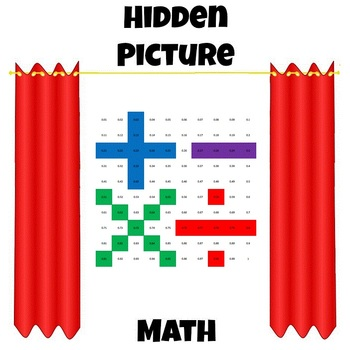 Hidden Picture Math - Convert Fractions to Decimals - Operation Symbols