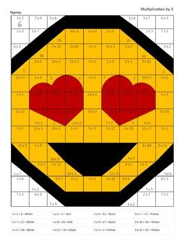 Hidden Picture Emoji - Multiplication x 3 - Math Facts