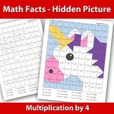 Hidden Picture Emoji- Multiplication x 4 - Math Facts