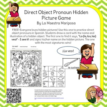 Hidden Picture - Practice Spanish Direct Object Pronouns