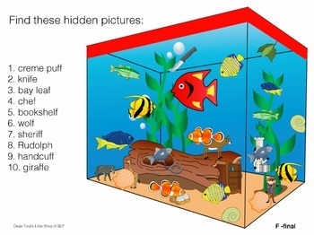 Articulation Activity :Hidden Pictures Aquarium Activity